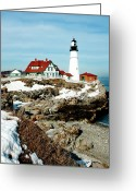 Portland Head Light Greeting Cards - Winter at Portland Head Greeting Card by Greg Fortier