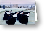 Ice Painting Greeting Cards - Winter at the Convent Greeting Card by Margaret Loxton