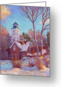 Grass Pastels Greeting Cards - Winter at the lighthouse Greeting Card by Michael Camp