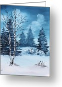 Winter Painting Greeting Cards - Winter Greeting Card by Barbara Teller