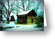 Winter Trees Digital Art Greeting Cards - Winter Barn and Silo Greeting Card by Carol Groenen
