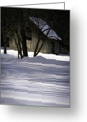 Snowy Tree Greeting Cards - Winter Barn Greeting Card by Rob Travis
