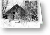 Rotted Greeting Cards - Winter Barn Greeting Card by Ryan Burton