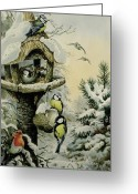 Feeding Painting Greeting Cards - Winter Bird Table with Blue Tits Greeting Card by Carl Donner