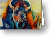 Buffalo Painting Greeting Cards - Winter Bison Greeting Card by Marion Rose