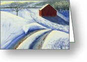 Landscapes Pastels Greeting Cards - Winter Blues Greeting Card by Garry McMichael