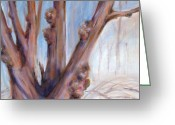 Bare Trees Painting Greeting Cards - Winter Bones Greeting Card by Sally Simon