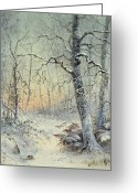 Slush Greeting Cards - Winter Breakfast Greeting Card by Joseph Farquharson