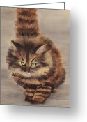 Animal Portrait Pastels Greeting Cards - Winter Cat Greeting Card by Anastasiya Malakhova