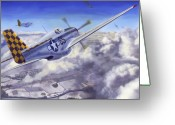 Fighters Painting Greeting Cards - Winter Chase Greeting Card by David Gorski