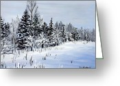 Winter Trees Greeting Cards - Winter Greeting Card by Cher Devereaux