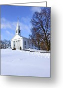 Ma Greeting Cards - Winter Church Greeting Card by Evelina Kremsdorf