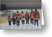 Pond Hockey Painting Greeting Cards - Winter Classic 2012 Greeting Card by Ron  Genest