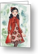 1960s Fashion Greeting Cards - Winter Coat Greeting Card by Audra Esch