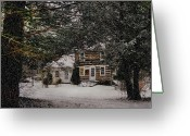 Scene Mixed Media Greeting Cards - Winter Cottage Greeting Card by Gordon Beck