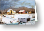 Covered Bridge Painting Greeting Cards - Winter Crossing Greeting Card by Joseph Holodook