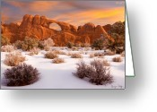 Snow Greeting Cards - Winter Dawn at Arches National Park Greeting Card by Utah Images