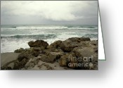 Rough-seas Greeting Cards - Winter Day at the Beach Greeting Card by Julie Palencia