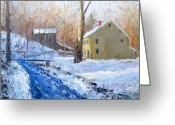 Carversville Greeting Cards - Winter Day in Carversville Greeting Card by Bob Richey