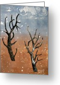 Winter Painting Greeting Cards - Winter Day Greeting Card by Sarah Loft