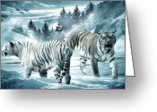 Tiger Cub Greeting Cards - Winter Deuces Greeting Card by Lourry Legarde