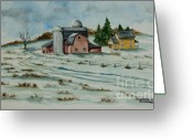 Old Country Roads Painting Greeting Cards - Winter Down On The Farm Greeting Card by Charlotte Blanchard