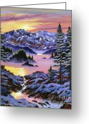 Snow Capped Painting Greeting Cards - Winter Dreams Greeting Card by David Lloyd Glover