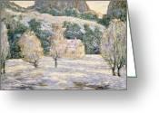 Winter Trees Greeting Cards - Winter Greeting Card by Ernest Lawson