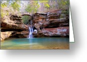 Winter Trees Greeting Cards - Winter Fall at Hocking Hills Greeting Card by Monica Lewis