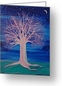 Jrr Greeting Cards - Winter Fantasy Tree Greeting Card by First Star Art
