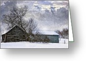 Shed Greeting Cards - Winter Farm Greeting Card by Steve Harrington