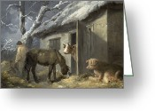 Slush Greeting Cards - Winter Farmyard Greeting Card by George Morland