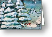 Feeding Mixed Media Greeting Cards - Winter Fest Greeting Card by Mindy Newman