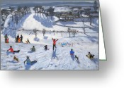 Snow On Field Greeting Cards - Winter Fun Greeting Card by Andrew Macara