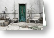 Teal Greeting Cards - Winter Garden Greeting Card by Cynthia Decker