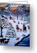 Log Cabins Painting Greeting Cards - Winter Gathering Greeting Card by Adele Moscaritolo