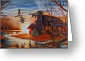 Log Cabin Photographs Greeting Cards - Winter Getaway Greeting Card by Carmen Del Valle