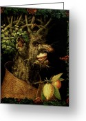Surreal Mushrooms Greeting Cards - Winter Greeting Card by Giuseppe Arcimboldo