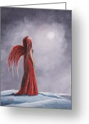 Surreal Art Painting Greeting Cards - Winter Gothic Fairy by Shawna Erback Greeting Card by Shawna Erback