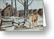 Split Rail Fence Painting Greeting Cards - Winter Grazing  Greeting Card by Charlotte Blanchard