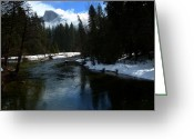 Snow On Field Greeting Cards - Winter Half Dome And The Merced River Greeting Card by Jeff Lowe