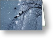Blackbirds Greeting Cards - Winter Hearts Greeting Card by Gothicolors With Crows