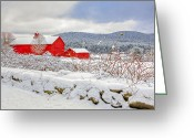 Red Barns Greeting Cards - Winter in Connecticut Greeting Card by Bill  Wakeley