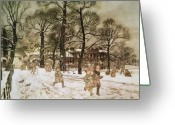 Pan Greeting Cards - Winter in Kensington Gardens Greeting Card by Arthur Rackham