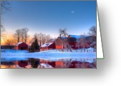 Red Barn Greeting Cards - Winter In New England Greeting Card by Michael Petrizzo