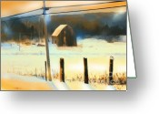 Telephone Pole Greeting Cards - Winter In Powassan Ont. Greeting Card by Bob Salo