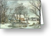 Landscape Cards Greeting Cards - Winter in the Country - the Old Grist Mill Greeting Card by Currier and Ives