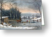 River Banks Greeting Cards - Winter in the Country Greeting Card by Currier and Ives