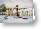 Clock Drawings Greeting Cards - Winter In Twyn Square Greeting Card by Andrew Read