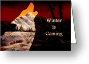 Dusk Mixed Media Greeting Cards - Winter is Coming Greeting Card by Anastasiya Malakhova